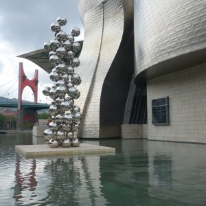 The fountain in front of the Guggenheim museum