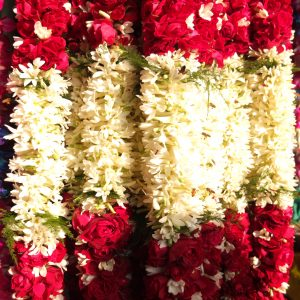 Floral wreath at the market of Delhi