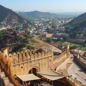 View from the Fort Amber over the beautiful village of Jaipur (India)