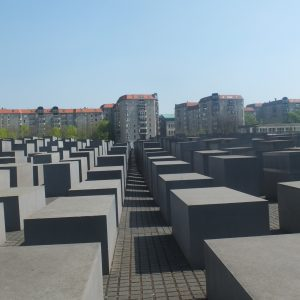 Holocaust memorial and surrounding buildings