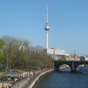 Television tower of Berlin Alexanderplatz and the river banks of the Spree